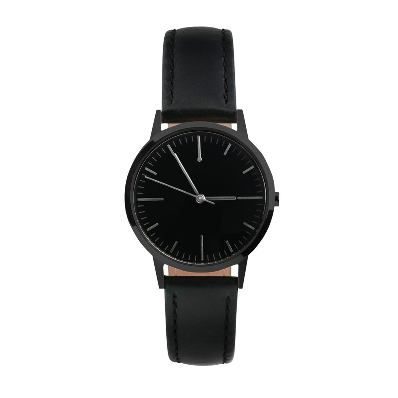 All Black - 30mm Womens small dial unbranded vintage inspired minimalist watch - fte3207-  Freedom To Exist