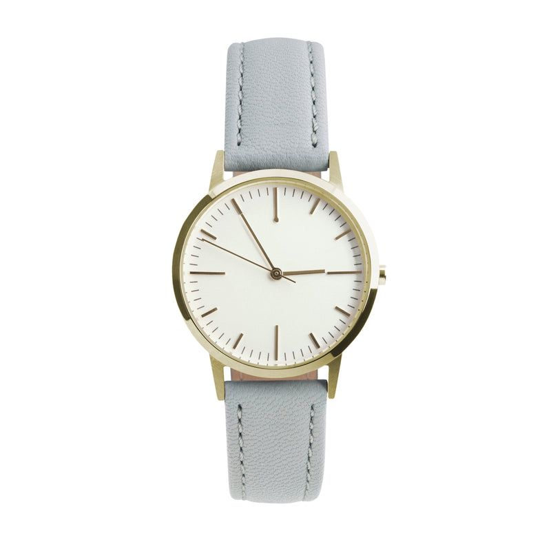 Gold & Grey Leather Watch - 30mm Womens unbranded minimalist - Freedom To Exist