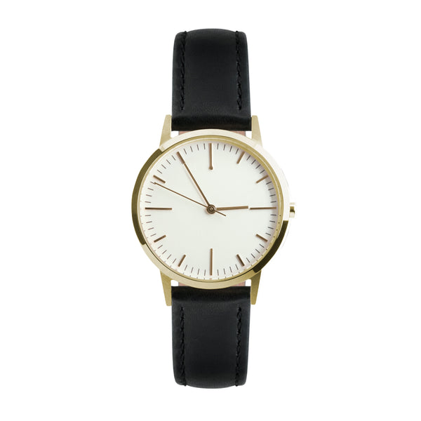 Gold & Black Leather Watch - 30mm Womens unbranded minimalist - Freedom To Exist