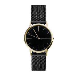 Black Milanese Mesh Strap, Gold Case, Black Dial and Gold Markings - Ladies Watch UK - Buy from Freedom To Exist