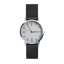 Silver and grey simple dial watch with black mesh strap - Freedom To Exist