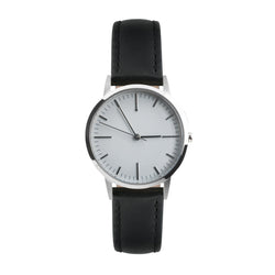 Silver and grey simple dial watch with black leather strap - Freedom To Exist