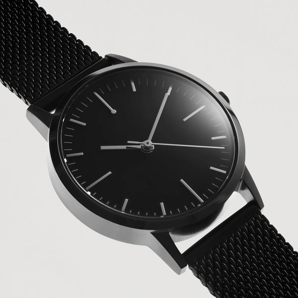 All Black - 30mm Womens small dial unbranded vintage inspired minimalist watch - mesh strap