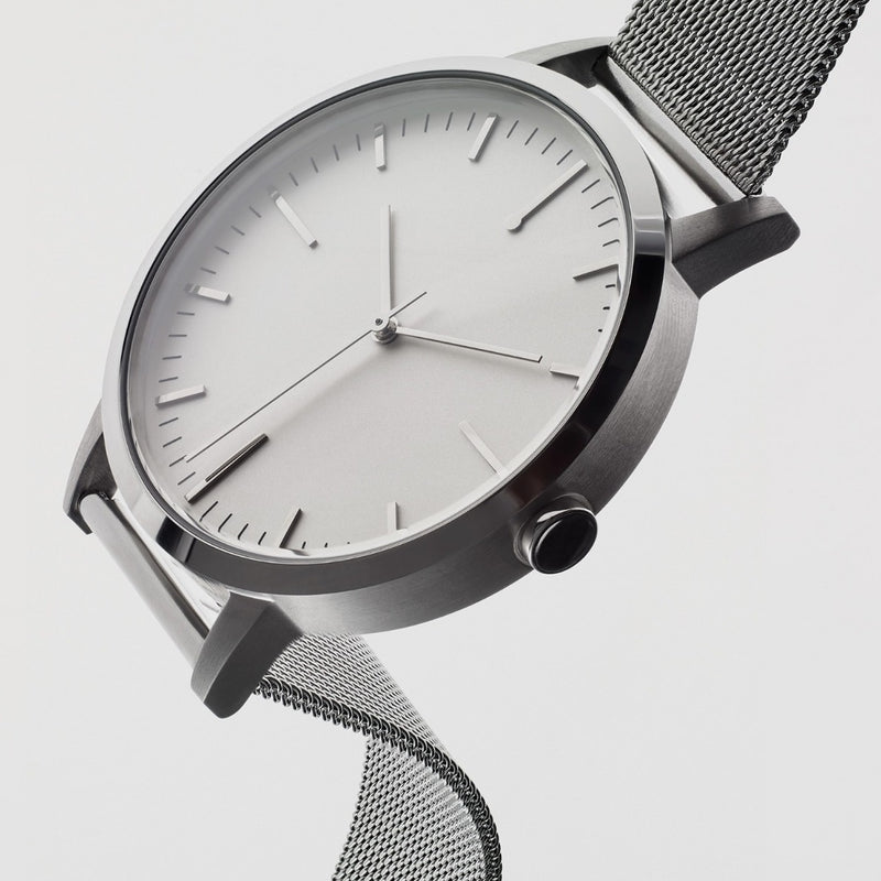 40mm Mens Silver Watch with white dial - Silver Milanese Mesh strap