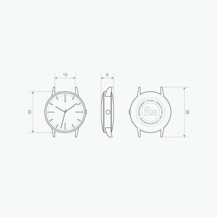 30mm Watch - 30 Edition Watch technical drawing 15mm Strap - Unbranded Simple - Freedom To Exist