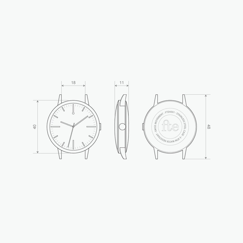 40mm Watch - 40 Edition Watch technical drawing 18mm Strap - Unbranded Simple - Freedom To Exist