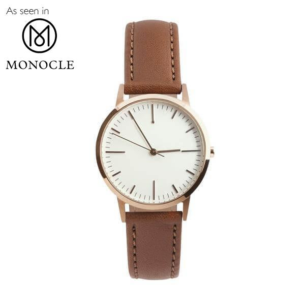 Ladies Watch - 30mm Rose Gold & Tan Leather Womens/Ladies Minimalist Vintage no logo Watch - Swiss