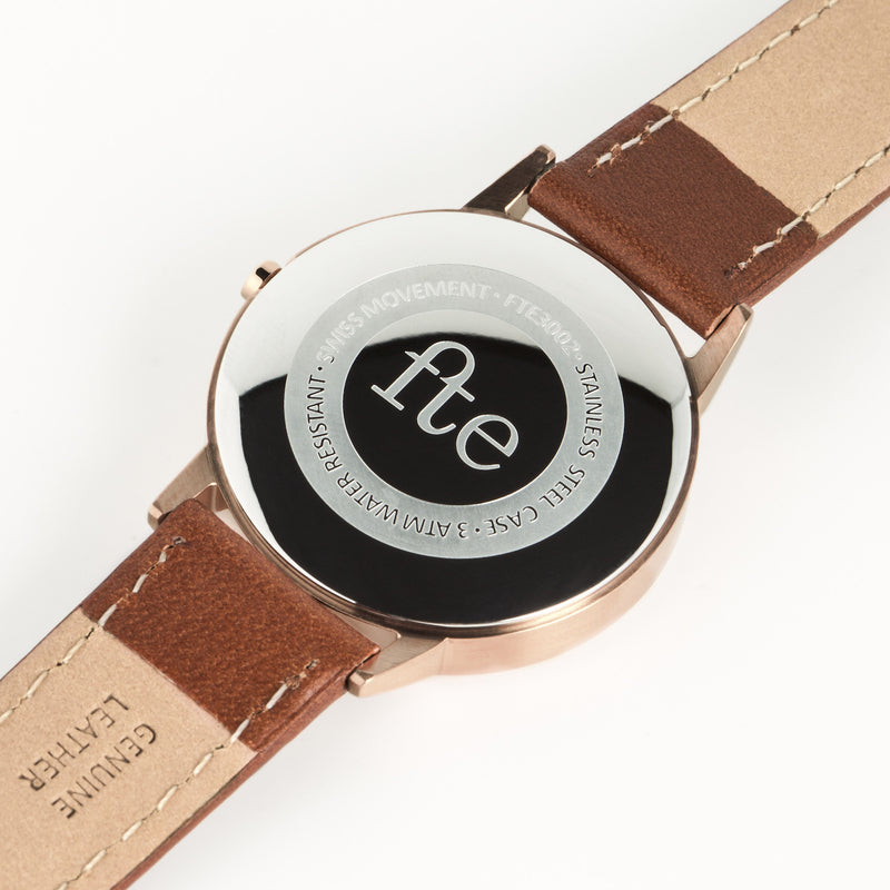 fte3002 Rose Gold & Tan Leather Womens/Ladies Minimalist Vintage inspired Watch fte Freedom To Exist