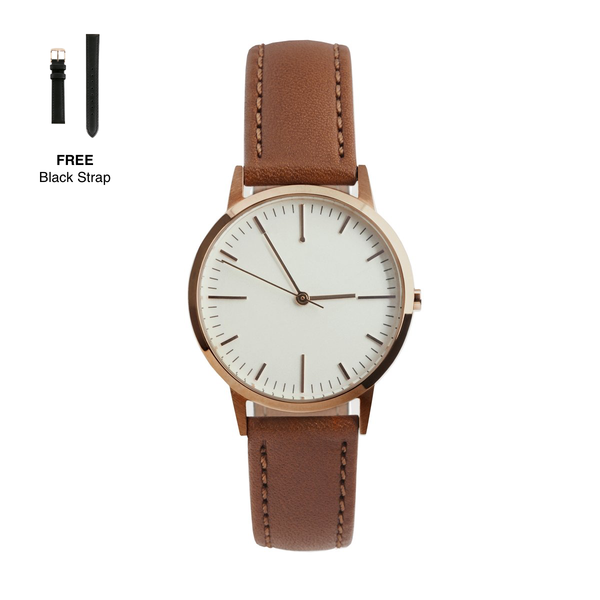 Rose Gold & Tan 30mm watch with extra Black quick release 15mm strap by Freedom To Exist