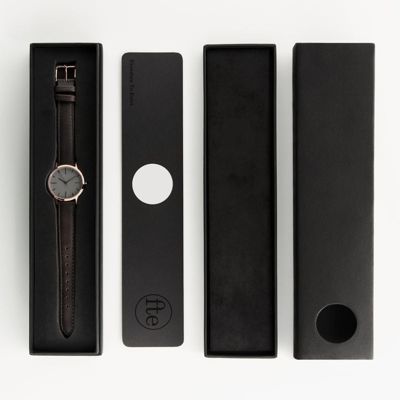 fte3003 Rose Gold & Dark Brown Leather Womens/Ladies Minimalist Vintage inspired Watch - Packaging