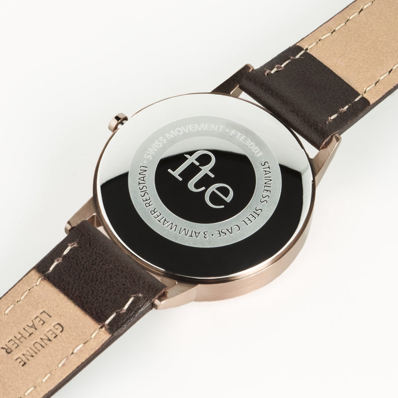 fte3003 Rose Gold & Dark Brown Leather Womens/Ladies Minimalist Vintage inspired Watch