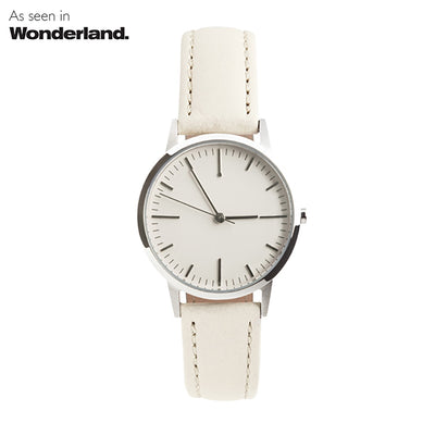 Wonderland Magazine - fte3004 Silver & Cream Nougat Leather Womens/Ladies Minimalist Vintage inspired Watch