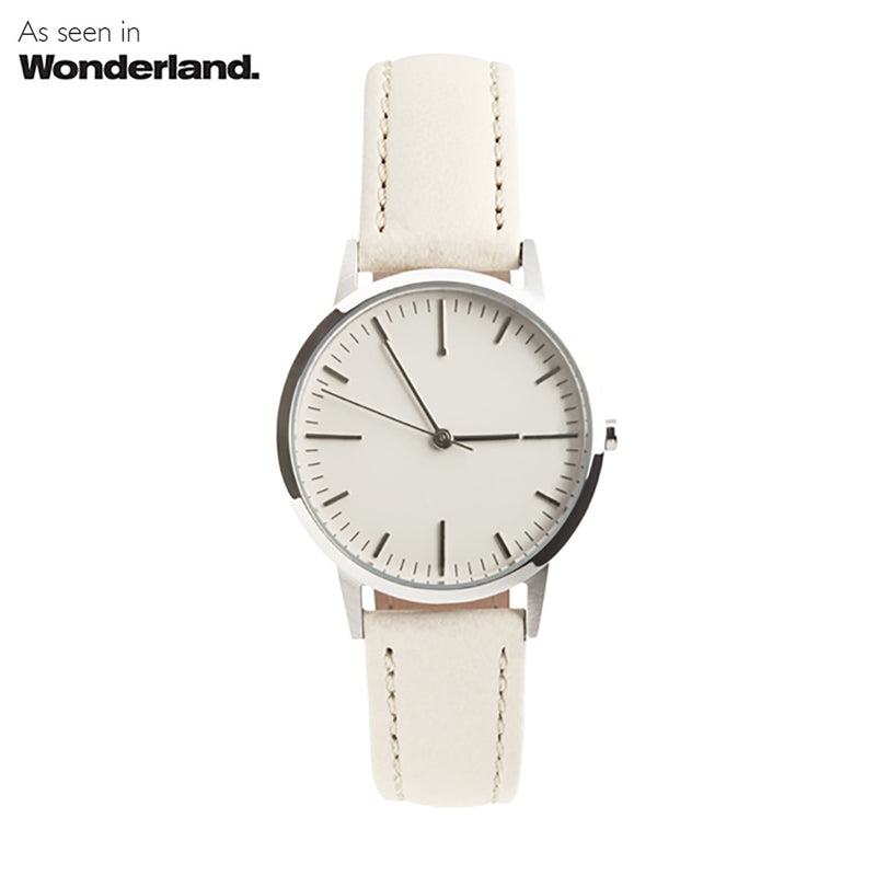 Silver & Cream Nougat Leather Watch Womens/Ladies  Watch Wonderland Magazine - fte3004