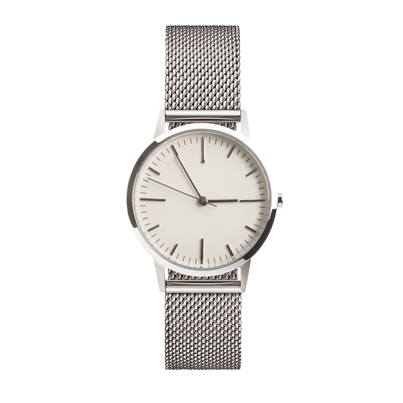 Silver ladies mesh watch Under £100 - 30mm dial with 15mm strap - freedom to exist minimal watches