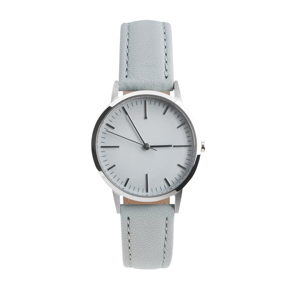 fte3005 Silver & Grey Gray Leather Womens/Ladies Minimalist Vintage inspired Watch
