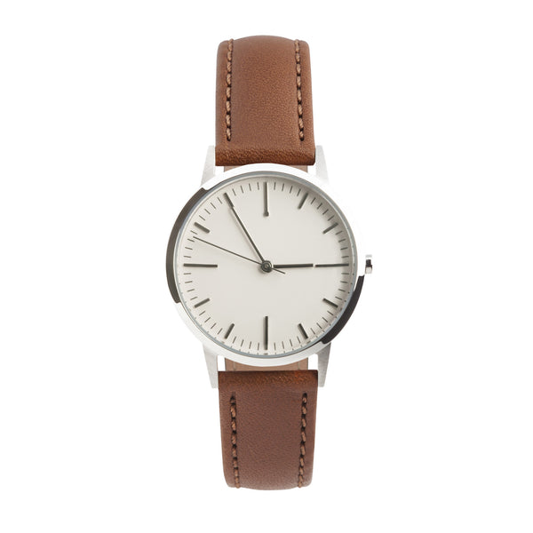 fte3006 Silver & Tan Brown Leather Womens/Ladies Minimalist Vintage inspired Watch