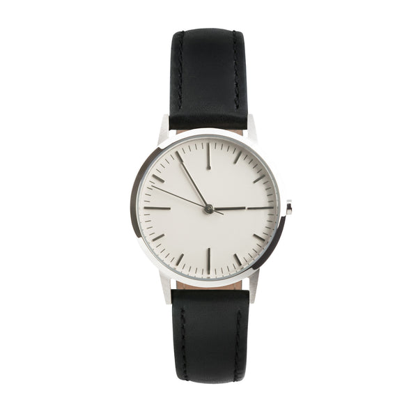 fte3008 Silver & Black Leather Womens/Ladies Minimalist Vintage inspired Watch