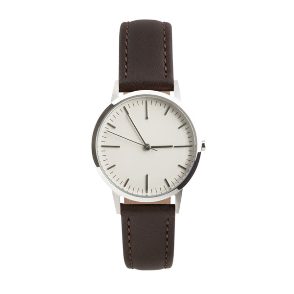 fte3009 Silver & Walnut Brown Leather Womens/Ladies Minimalist Vintage inspired Watch