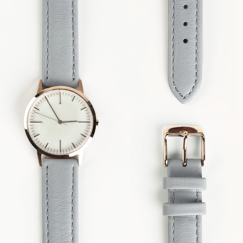 fte3011 Rose Gold & Grey Gray Leather Womens / Ladies Minimalist Vintage inspired Watch / Timepiece