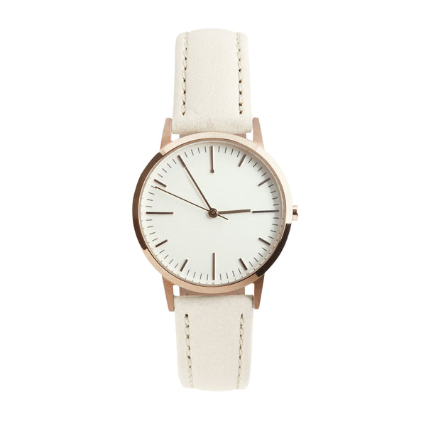 fte3012 Rose Gold & Cream Leather Womens / Ladies Minimalist Vintage inspired Watch / Timepiece