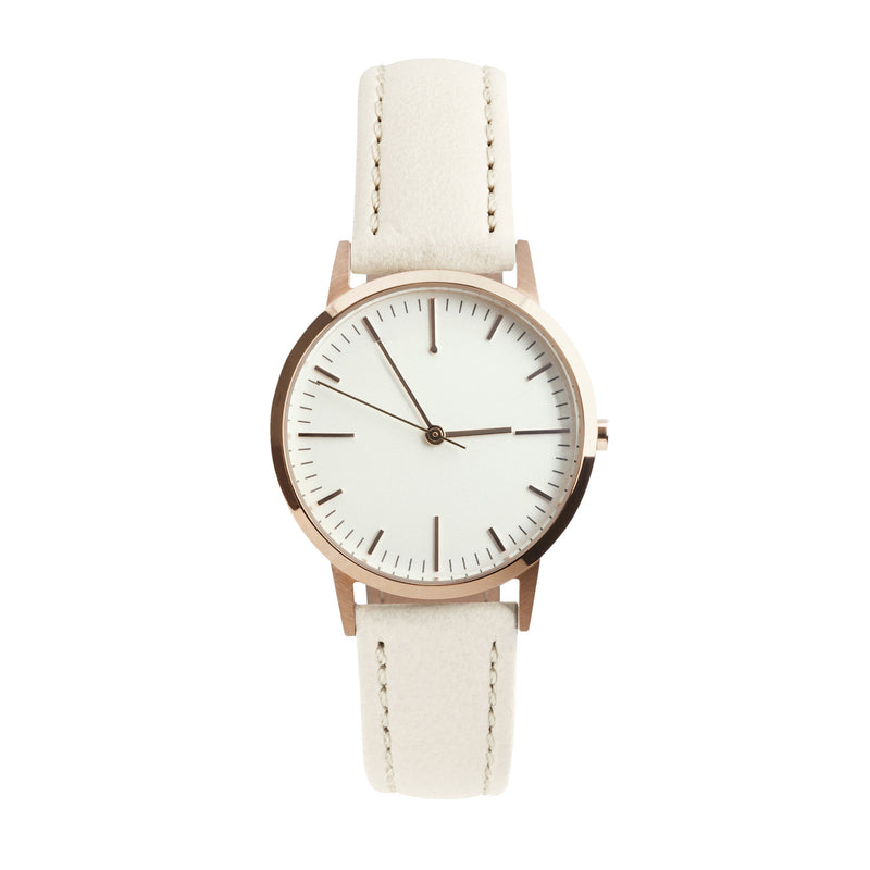 Rose Gold & Cream Leather Womens / Ladies Minimalist Vintage inspired Watch / Timepiece - fte3012