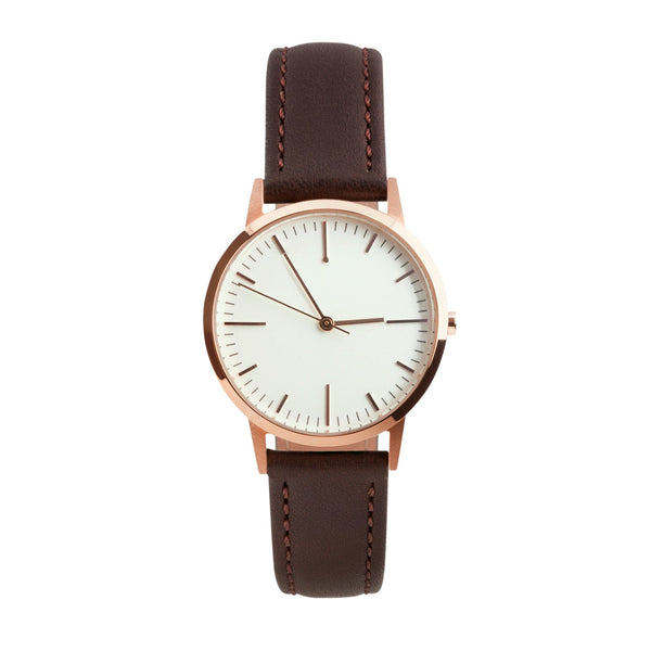 fte3013 | 30mm Rose Gold & Dark Brown Watch