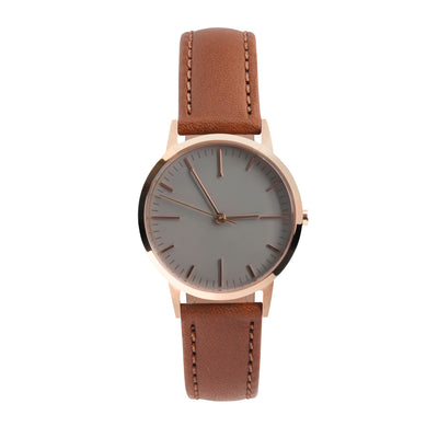 fte3014 - Rose Gold, tonal brown face and light brown Tan Watch