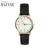 Rose Gold & Black Leather petite Womens / Ladies Minimalist Vintage inspired Watch / Timepiece harpars bazaar fte3015