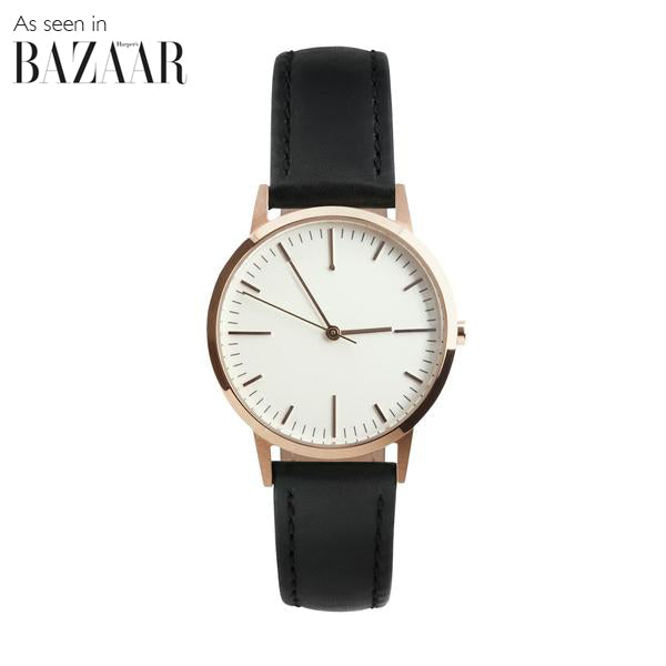 Rose Gold & Black Leather Watch - petite Womens / Ladies Minimalist Vintage Watch / Timepiece