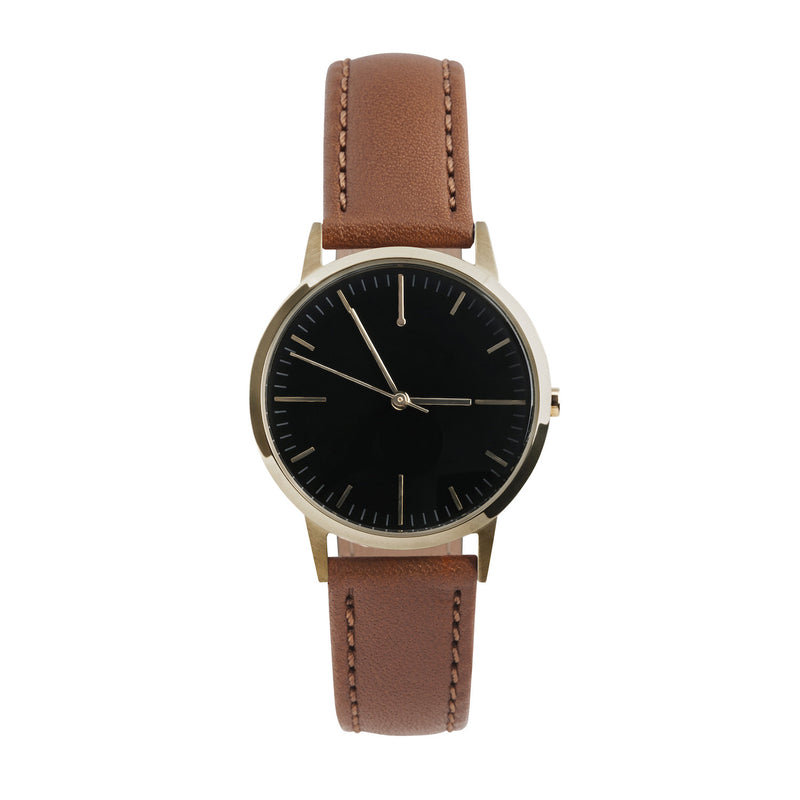 Gold, Black Dial & Tan Leather Watch - Womens / Ladies Minimalist Vintage Watch Under £100