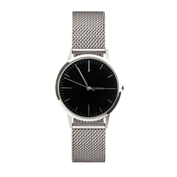 Silver Black Dial Watch - Mesh Strap 30mm Womens small unbranded minimal watch fte3210 - Under £100