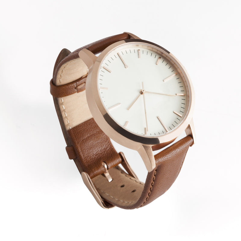 fte4002 - 40mm - Rose Gold & Tan - Men's & Women's unbranded Minimalist Watch