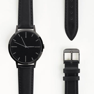 fte4007 - 40mm - All Black - Gun Metal - Men's & Women's unbranded Minimalist Watch - fte