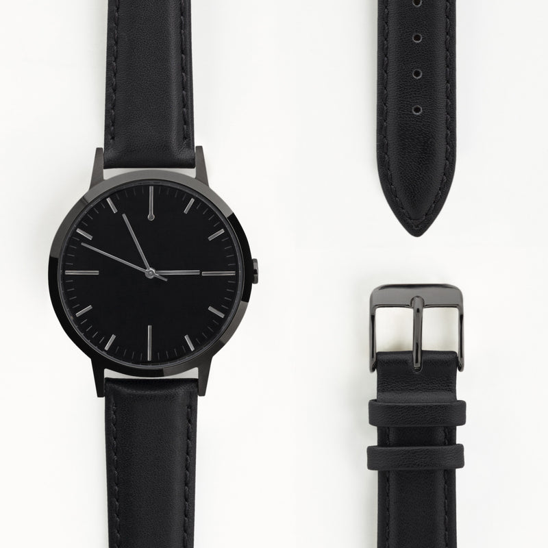 Large All Black 40mm Watch for Men and Women | Freedom To