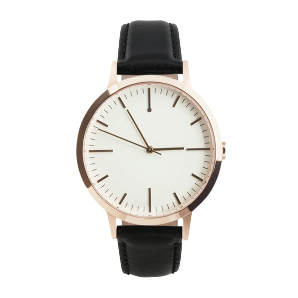 fte4015 - 40mm Rose Gold & Black - Men's & Women's unbranded Minimalist Simple Watch - fte