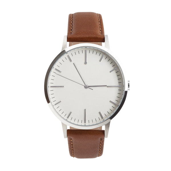 fte4206 - 40mm - Silver & Tan - Men's & Women's unbranded Minimalist Watch - fte