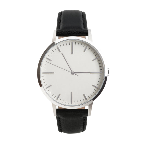 Silver & Black Minimalist Watch