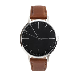 Men's & Women's unbranded Minimalist simple Watch - fte - fte4213 - 40mm Silver, Black Dial & Tan -