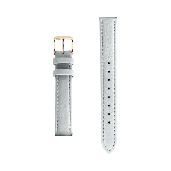 Grey Gray Leather - Rose Gold Buckle - Replacement Italian Leather Strap - 15mm - Minimalist Watch - Swiss Movement