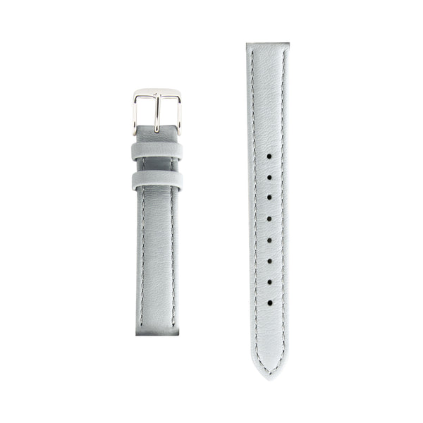 Grey Gray Leather - Silver Buckle - Replacement Italian Leather Strap - 15mm - Minimalist Watch - Swiss Movement