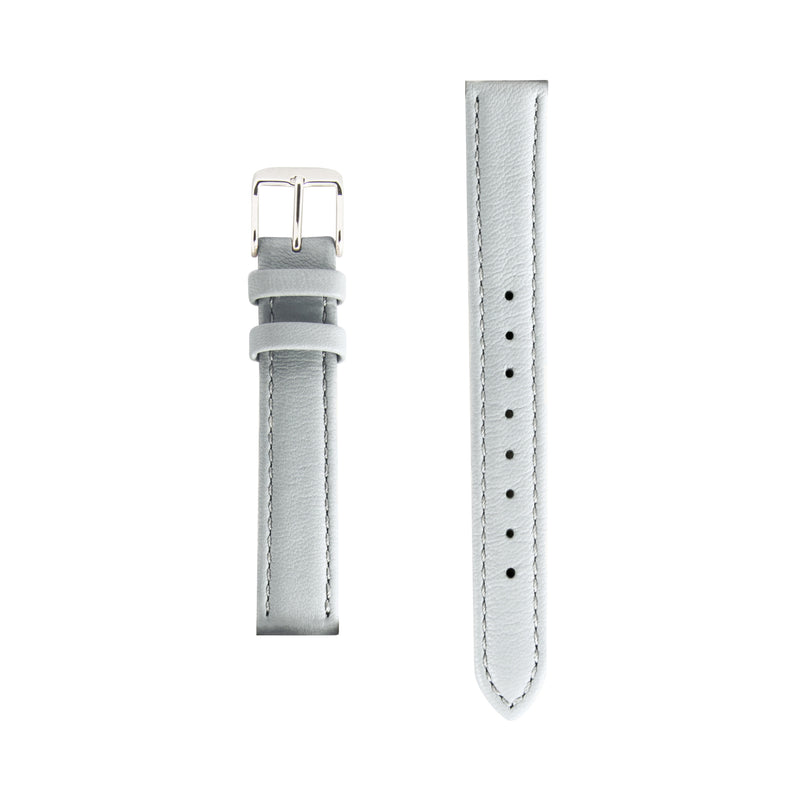 Grey Gray Leather - Silver Buckle - Replacement Italian Leather Strap - 15mm - Minimalist Watch