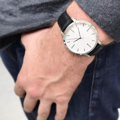 fte4208 - Silver & Black Minimalist Mens Simple Watch - Esquire and The Times
