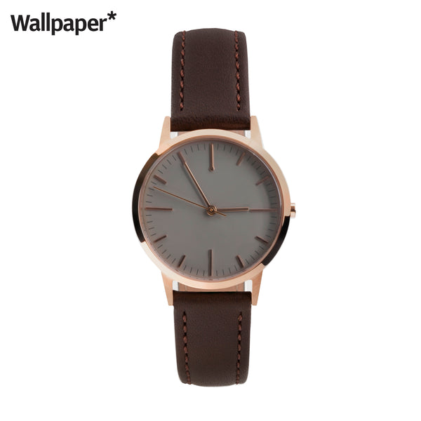 Rose Gold & Dark Brown Leather Small Dial Womens Ladies Minimalist Vintage inspired Watch - fte3003