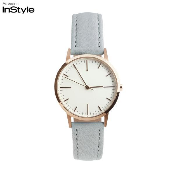 Rose Gold & Grey Gray Watch - Leather Womens / Ladies Minimalist Unbranded no logo Watch / Timepiece