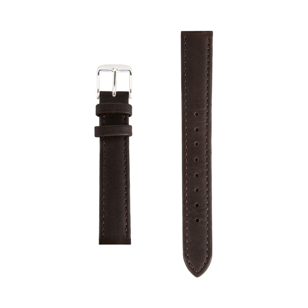 Dark Brown Leather - Silver - Replacement Italian Leather Strap - 15mm - Minimalist Watch - Swiss Movement