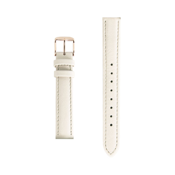 Cream Leather Replacement Strap - Rose Gold Buckle - Replacement Italian Leather Strap - 15mm - Minimalist Watch - Swiss Movement