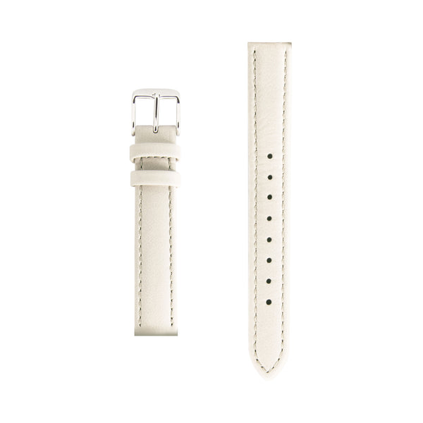 Cream Nude Leather Watch Strap - Silver Buckle - 15mm Italian Leather Watch Strap - Minimalist