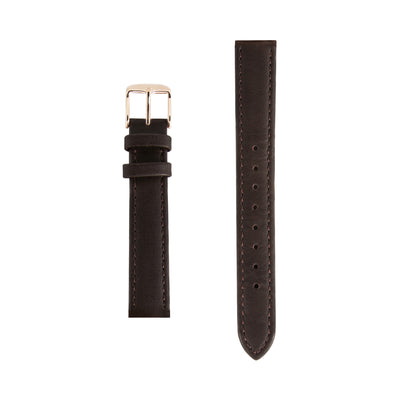 Dark Brown Leather - Rose Gold Buckle - Replacement Italian Leather Strap - 15mm - Minimalist Watch - Swiss Movement