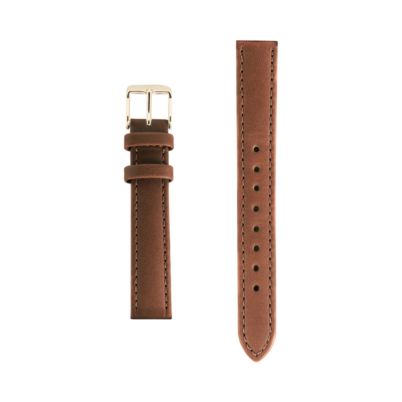 Tan Leather Replacement Strap - Gold Buckle - Replacement Italian Leather Strap - 15mm