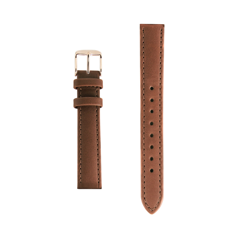Tan Leather Replacement Strap - Rose Gold Buckle - Replacement Italian Leather Strap - 15mm